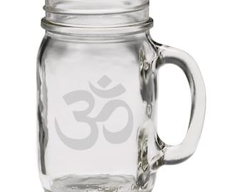 Aum Islamic Symbol 12 oz Hand Etched Glass Mason Jar Mug