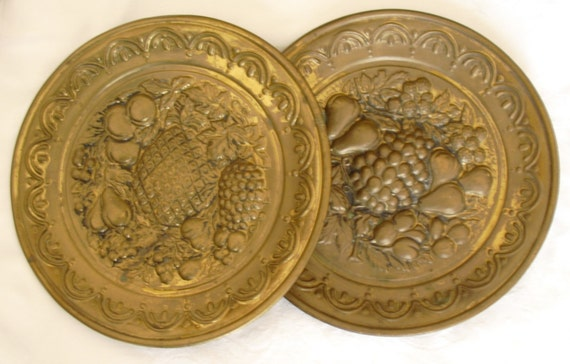 Vintage Brass Wall Plates Decorative Wall Hangings 2 Vintage