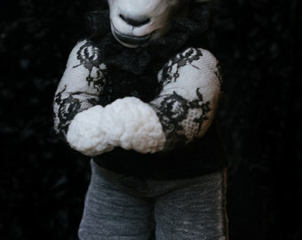 OOAK fine art doll: Spring Lamb in Lace and Velvet with High Ruffled Collar