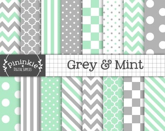 Mint Digital Paper Pack, Grey Digital Scrapbook Paper Pack, Mint Chevron Digital Paper, Instant Download, Green Paper