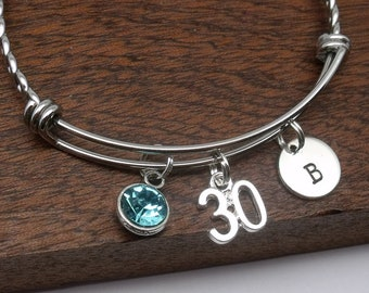 30th bracelet, personalised 30th jewellery, 30th birthday gift, age 30, bangle, 30th bracelet, birthstone, customised initial, letter