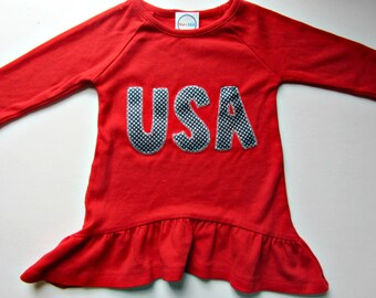 SALE Fourth of July Shirt 2T Toddler 4th of July Outfit Fourth of July Dress USA Shirt USA Tshirt July 4th Girls Shirts Girls Leggings