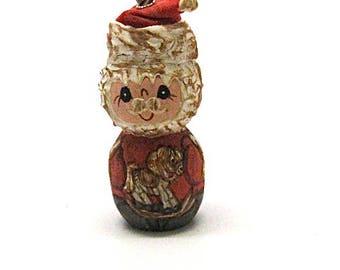 Christmas Ornament, Santa Claus, Handmade, Folk Art, Artisan, Primitive, Signed