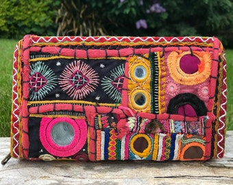 Boho Indian purse, embroidered purse, Afghani purse, tribal purse, ethnic purse, bohemian purse, wallet, gifts for her