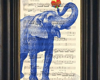 Elephant Print        Blue Elephant with Ball  print on upcycled Vintage 1920's Sheet Music Page MIXED MEDIA DIGITAL