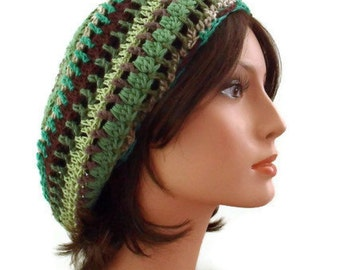 Woodland Gypsy Tam Hemp cotton vegan natural hat slouchy cloche forest green brown eco friendly fantasy dread rasta Made To Order