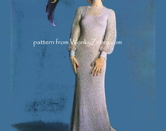 Vintage Knit and Crochet Long Evening Dress Pattern PDF 636 from WonkyZebra