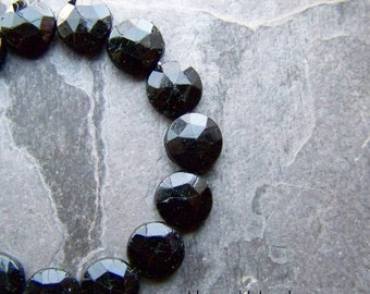 Nail Heads-Vintage Glass Beads-Sew On-Large-Rare Bead-11mm-Jet Black-Mourning Beads-Vintage Glass Bead-Czech Glass Bead-Full Strand-25 Beads