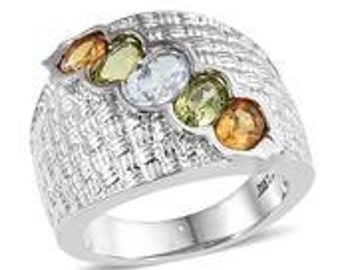 Sky Blue Topaz (Ovl 0.90 Ct), Hebei Peridot, Brazilian Citrine 5 Stone Ring in Stainless Steel (Size 6.0) TGW 2.600 cts