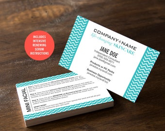 Rodan and Fields Business Cards / Teal / Chevron / Mini Facials / Instructions / Products / Regimen / Digital / DIY / Printable