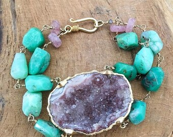 Rhodochrosite Bracelet | Geode | Chrysoprase | 24K Gold Vermeil | Bohemian | Gemstone | Raw