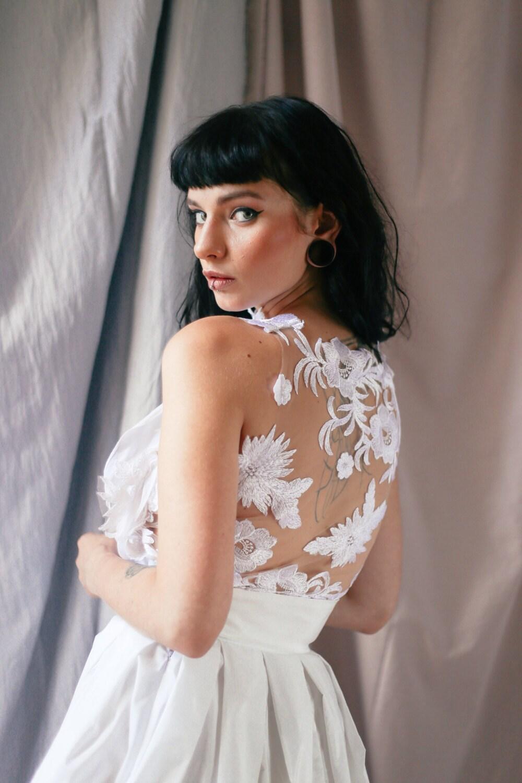 Hochzeit Kleid Spitze Halfter Braut trennt Spitze Spitze