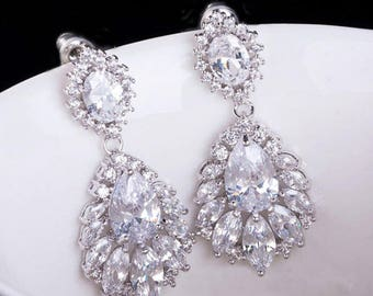 Cubic Zirconia Bridal Earrings, CZ Wedding Earrings, Bridal Drop Earrings, Bridal Earrings, Bridal Crystal Earrings