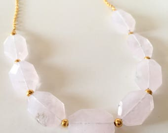 Rose Quartz and Gold Chunky Statement Necklace