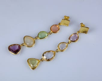 Golden Silver Pendant earrings with 8 semiprecious stones