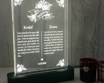 Personalised Wedding Vows Table Light