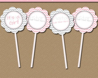 Pink and Gray Baby Shower Cupcake Topper Template, Pink Grey Baby Shower Decoration, Printable Baby Girl Shower Picks, Baby Shower Ideas BB1