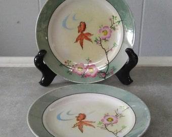 Lusterware Plates, Japan Plates, Vintage Plates, Dessert Plates, Iridescent Plates, Asian Plates, Cherry Blossom Plates, Vintage Lusterware