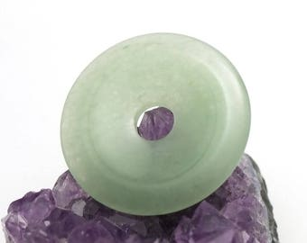 "1 ""large 40 mm donuts"" aventurine pendant, natural stone"