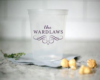 Custom Party Cups - Monogram clear plastic stadium cups