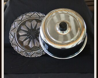 Federal Glass Co. Vintage Cut Glass Snowflake Footed Cake Plate With Chrome Cake Cover, Covered Cake Plate, Christmas Gift