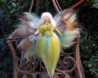 Small needle Felted guardian angel,  Waldorf inspired fairy doll, wool