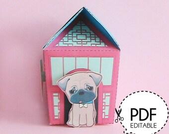 Puggie Dog House Gift Box – Printable PDF Download