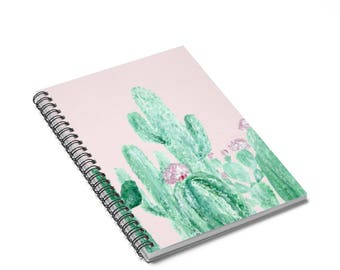 Pink Cactus Notebook, pink notebook, blush pink journal, cactus notebook, cactus journal, succulent notebook, pink cactus, plant notebook