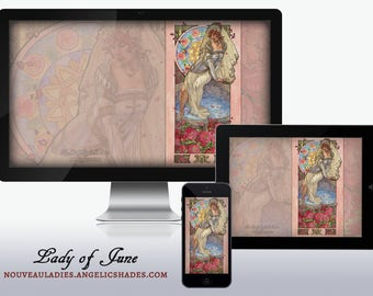 Lady of June Art Nouveau Roses Wedding Bride by a Well Stained Glass Birthstones Birth Flowers Wallpapers for Desktop, Phone, and Tablet