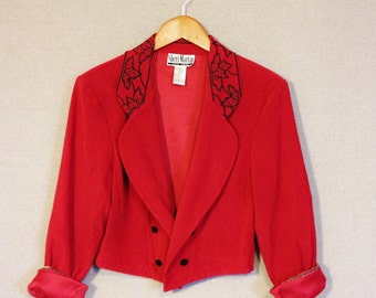 Women's Red Band Jacket - 1980's Janet Jackson Style Red and Black Cropped Blazer - Vintage Red and Black Crop Jacket By Sheri Martin - Red