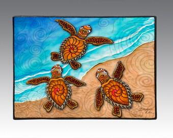 """3 Baby Turtles 18"""" x 24"""" Door Mat, Floor Mat, Home Decor, sea turtles art"""