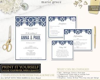 Navy Lace Damask Wedding Invitation Printable, Vintage Wedding Invite template