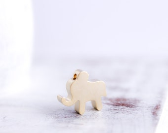 Elephant Charm - Gold Charm Connector - 16k Gold Plated Charm - 12.2mm x 11mm - Wholesale Findings - Animal Pendant - Bulk Findings / GP-005