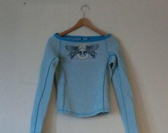 90s Gsus designer blue glitter longsleeve top