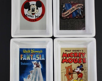 Disney Porcelain Tray Platter Collection 4 Trays Mickey Mouse