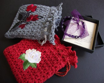 Crocheted Gift Bag, Jewelry Pouch, Gift for Her, Mom Gift, Gift for Mom, Gift Bag, Sympathy Gift, Sold as a pair of Red and Slate Blue