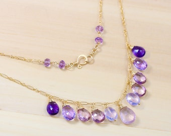 Rose Quartz Drop Necklace, Pink Amethyst Necklace, Pink Topaz Necklace, Purple Gemstone Necklace, Purple Drop Necklace, Dainty Necklace 14K
