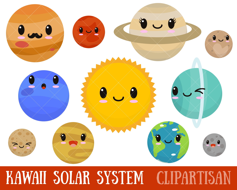 Kawaii Planets Clipart / Cute Planets Clipart / Solar ...