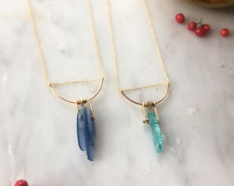 Aquamarine or Apatite Necklace