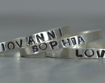 Hand Stamped Ring Sterling Silver Stacking Ring Personalized Ring Hand Stamped Jewelry Name Jewelry Stack Rings