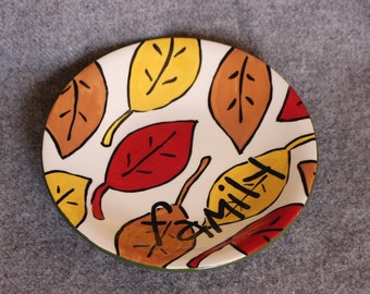 Shallow bowl, Handpainted, Family, Fall Leaves, Harvest, September, Housewarming, Hostess Gift