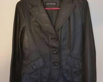 VTG 90s Black Leather Blazer Jacket Black sz M