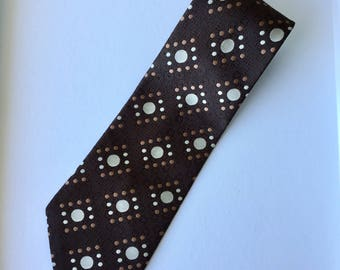 Retro 80s Brown and Pink Town Talk Polyester Made In Australia Mens Necktie