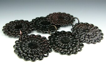 Enameled Round Filigree / Black Enamel / Made to order