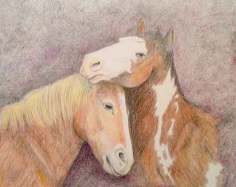 Colored Pencil drawing of horses