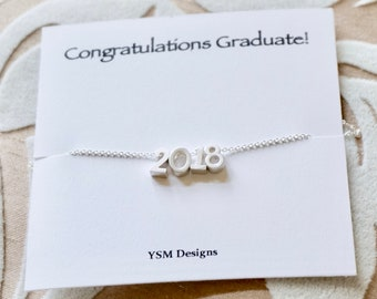 Graduation Necklace - Year Necklace, Grad Gift, Class of 2018, Graduation Jewelry, Gift for 2018 Grad, Number Necklace, 2018 Necklace