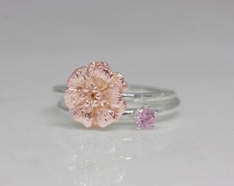 October birth flower and stone ring set, birth flower ring, birth stone ring, stackable ring, statement ring, birthday gift, Pink tourmaline