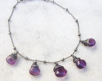 Amethyst dangle bracelet, dainty chain purple gemstone bracelet, oxidized sterling silver stone bracelet, February birthstone jewelry