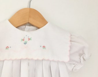 Vintage Carters white dress with light pink details and matching bloomers