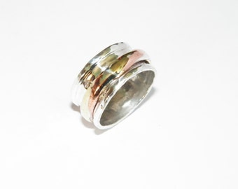 Handcrafted Hammered  Mixed Metals Spinner .925 Sterling Silver Spinner Ring- Custom Size
